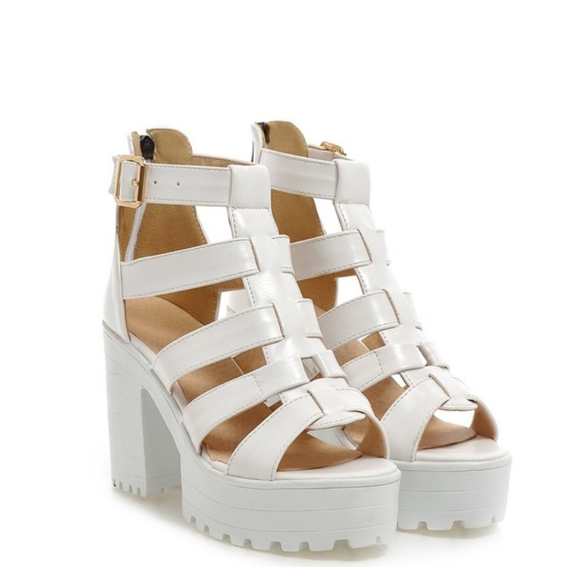 New Fashion Rome Style Shoes, Women Solid Peep Toe Gladiator Shoes, Buckle Platform Women Sandals 8