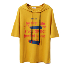Merry Pretty 2017 New Women letter print T Shirts Hooded design Short Sleeve Summer Cotton Tee Tops American Apparel