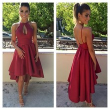 Sexy Vestidos Sociais Short Front Long Back Girls Party Dresses Keyhole Bust Prom Dresses 2017 Cheap Vestido De Festa Curto