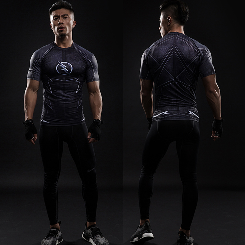 Short Sleeve 3D T Shirt Men T-Shirt Male Crossfit Tee Captain America Superman tshirt Men Fitness Compression Shirt Punisher MMA 35
