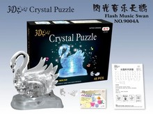 New Arrival 3D Crystal Puzzles Flash Music Swan Educational Toys Christmas Kid's Present New Year Gift(China)