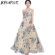 Blue V-neck Bohemian Floral Summer Dress Women Sleeveless Maxi Dress Chiffon Beach Long Dresses Large Sizes Clothes Women FYY404