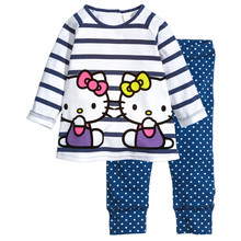 Children's pajamas set Spring&autumn fashion cartoon baby girls clothing set 100% cotton girl's pyjamas Sleepwear stripe p018