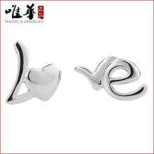 Only 925 Sterling Silver Earrings love Chinese Korean Fashion Silver Love English earrings wholesale jewelry manufacturers