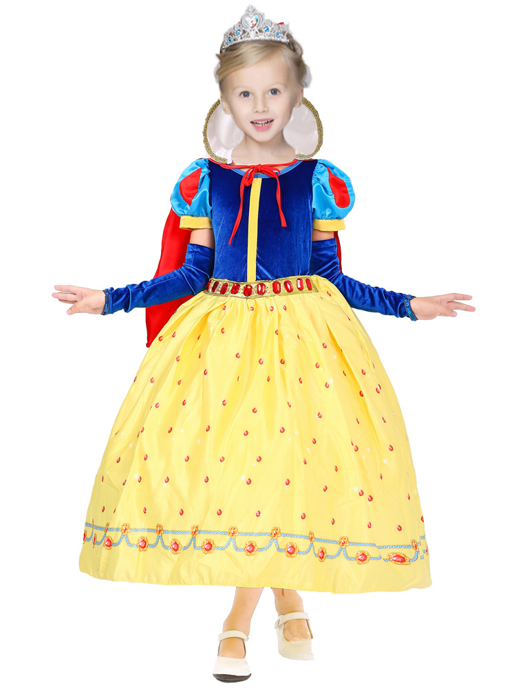 High Quality Cotton Lining 2-12Y Kids Birthday Princess Gowns Dress Girls Costumes for Halloween Princess Outfit with Sleeves<br>