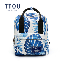 TTOU Design Blue Color Leaves Printing Backpack School Backpacks For The Girl Travel Bag Bolsa Feminina Gift for Girls(China)