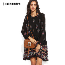 Buy Sukibandra Summer Vintage Floral Print Black Midi Pleated Women Dress Loose Boho Chic Bohemian Retro Casual Long Sleeve Dresses for $19.99 in AliExpress store
