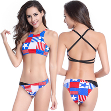 Sexy New American Flag Printing Bikinis High Neck Top Swimwear Halter Bandage Beach Swimming Suits Girls White Bikini Set(China)