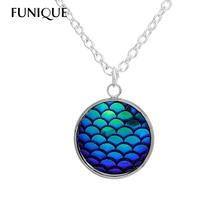 FUNIQUE Design AB Color Mermaid Fish Scales Resin Cabochon Charm Pendant Necklaces For Women Ladies Jewelry Accessories(China)