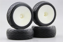 4pcs 1/10 Buggy On Road Tire Tyre Front&Rear Dish White Plastic Wheel Rim Fit for 1:10 4WD Buggy Car 1/10 Tire 25024+27007(China)