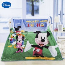 Disney Cartoon Mickey and Minnie Mouse Family Summer Quilts Comforter Baby Boy's Bed Bedspread Bedding 150*200cm Size Soft Green