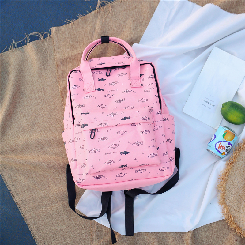 Menghuo Fish Printing Women School Bag Backpack for Teenage Girls Backpacks Female Canvas Children Schoolbag Women Bag s (2)