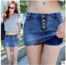 2017 Newest Womens Summer Denim Skirt Shorts Casuall Slim Middle-Waist Single Breasted Denim Short Short Femme Shorts Jeans K81(China)