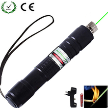 High Power Green Laser Pointer 532 nm 10000m Hang-type Outdoor Lazer pen Long Distance Lasers Sight +Charger+18650 Battery