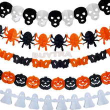 5 Styles Paper Chain Garland Decorations Pumpkin Bat Ghost Spider Skull Shape Halloween Decor Garland boost the atmosphere