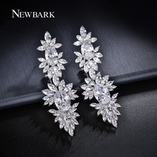 NEWBARK Silver Color Zirconia Long Clip Dangle Earrings Women Oval CZ Leaf Cluster Pendant Earrings Party Jewelry Gifts(China)