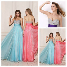 Delightful Empire Slim Sweetheart Beaded Chiffon Full Length Indian Style Prom Dresses 2016 Custom Made