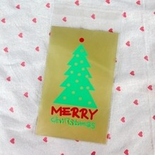 500pcs/lot Wholesale Merry Christmas Tree Self-adhesive Seal Snack and Biscuits Baking Bags DIY Gift Candy Packaging Bag BZ180(China)