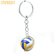 TAFREE summer fashion double sides beach volleyball art picture kaychain sports style men women ball lover key chain rings SP680