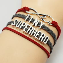 New Fashion Infinity in Love TINY Superhero Letters Silver Charms Wrap Wrist Bangle Bracelet Customized Drop Shipping