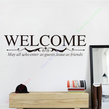 Large size welcome to our home sign Wall quote decals for windows glass doors decor 22x84cm wall decals
