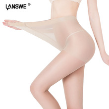 LANSWE 100kg MM plus size women nylon tights Double crotch added female solid pantyhose women large size stockings lady tights(China)