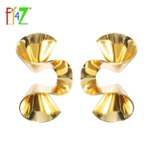 F.J4Z New Arrival Styled Earrings Trending Design Polish Metal Unique Winding Up Earring for Women Bijoux(China)