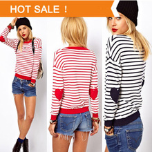 Spring Fashion Brand Love Hearts Patch Striped Knitwear Pullover Ladies Dress Knitted Crochet Pullover Women