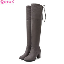 QUTAA 2018 Fashion Pu Leather Over The Knee High Boots Square High Heel Soild Round Toe Women All Match Ladies Boots Size 34-43(China)