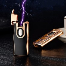 2017 New Arc Lighter Finger Touch Rechargeable Dual Arc Pulse USB Lighter Electronic Cigarette Lighters Novelty 2 Fire Cross