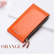 Slim Long Oil Wax Double Zipper Women Wallets Female Clutch Bag Ladies Coin Money Women's Purse Cuzdan Wristlet Walet Cartera(China)