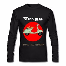 Men's Vespa Classic Scooter T Shirt Long Sleeve Thanksgiving Day Custom Vespa motorcycle Men T Shirts For Male Men(China)