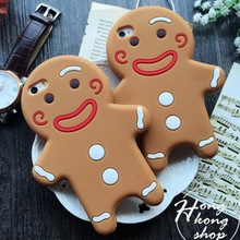 For iPhone 5 5s 6 6Plus 7 7P Popular Fashion Luxury 3D Cartoon cookies Gingerbread Man soft Rubber phone case back cover shell(China)