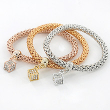 2017 Rhinestone Cube pendant Charm Bracelet Cute Alloy Bracelet Fine Jewelry Gifts For Women Girls M409(China)