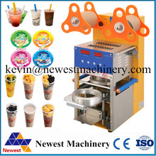 Digital automatic plastic cup sealer machine milk,boba,bubble,tea juice drink film cover lid sealing machine for factory price