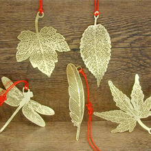 Golden Fine Veins Wutong Tree Leaves Of Mulberry Leaf Maple Leaf Dragonflies Butterflies Brass Metal Bookmark Business Gifts