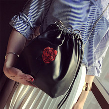Women's Handbags Ladies Women Purses Small Messenger Crossbody Clutch Black Rose Drawstring Bags Fashion Bolsa Feminina femme*