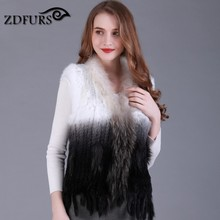 ZDFURS * natural real rabbit fur vest with raccoon fur collar waistcoat/jackets rex rabbit knitted  winter for women ZDKR-165005