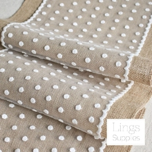 Hot sale! 5PCS Beautiful Burlap Table Runner With Dot Lace Wedding Party Decoration