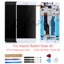 For Xiaomi Redmi Note 4X 3GB 32GB LCD Display Frame Touch Screen Panel Redmi Note 4X Snapdragon 625 LCD Display Digitizer Parts