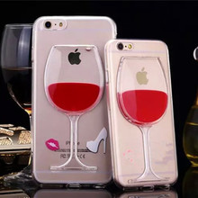Case For iPhone 7 6S 6 8 Plus Luxury 3D Red Wine Cup Clear Transparent Liquid TPU Silicone Phone Back Cover For iPhone7 5 5S SE