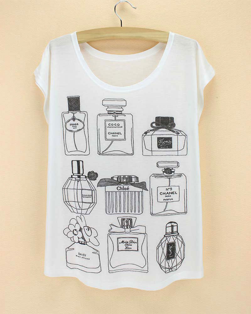 perfume bottle summer short sleeve girl tops tee shirts white round collar thin summer fashion women clothes 2015(China)