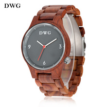 DWG Men's Watch Quartz Movement Wood Wristwatch Retro Red Sandalwood Male Wooden Strap Hand Fashion Man Clock Relogio Masculino