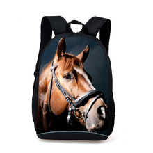 Cool Black Horse Backpack Men Women Animal Printing School Bags For Teenagers Kids Schoolbag Casual SportBag Mochila Infantil(China)