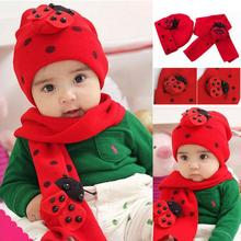 girl Beetle hat scarf two-piece red Toddler Kid Warm Plush Beanie Baby animal Hat Head cute Cap Scarf Sets Red 36-50cm