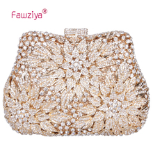 Fawziya Valentine Bags Ladies Clutches With Flower Blossom Evening Purse Rhinestone Crystal Clutch Bag(China)