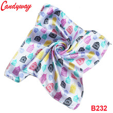 Fashion Printed cute cage 50x50cm Headscarf Head neckerchief elegent scarf Silk Accessories Fashion Ladies bb232(China)