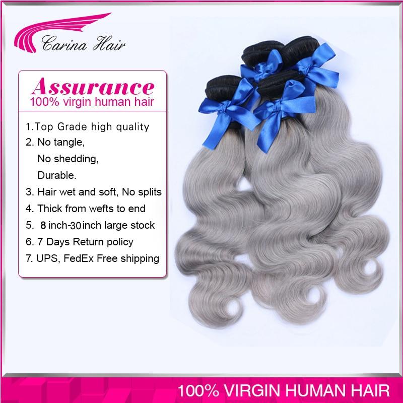 New Arrival brazilian body wave 4pcs/lot ombre silver grey hair weaving 1b/gray two tone Brazilian Virgin human hair extensions<br><br>Aliexpress