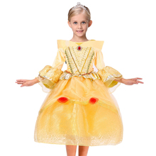 Movie Beauty And The Beast Carnival Girls Dress Chiffon Belle Princess Dress for Christmas Halloween Dress for Girl Kids Gown