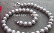 Miss charm Jew.147 Stunning! 12mm Grey Pearl Necklace AAA